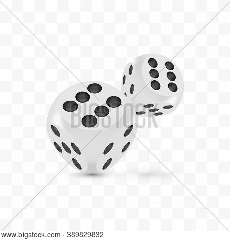 Good Luck Award Craps Concept, Shiny Photo Realistic Metallic Two Rolling Hanging Dices, 3d Render W