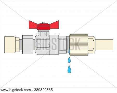 Illustration Of A Leaking Pipe With Leaking Water.  The Broken Pipe. Water Leakage.  Flat Vector Sty