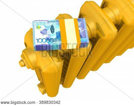 Heating Costs In Kazakhstan Currency. One Golden Heating Radiator With Pack Of Kazakhstan Banknote (