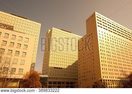 Detail Of Office Buildings At Odaiba, Tokyo, Kanto Region, Honshu, Japan