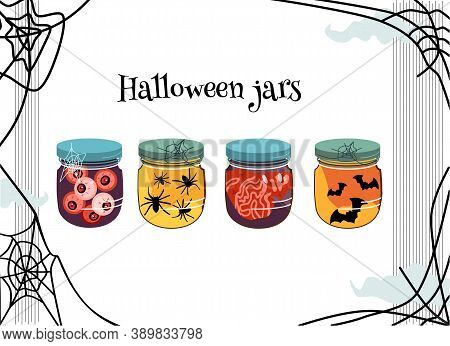 Halloween Scary Jars With Blood-streaked Brains,jelly Eyes,spiders And Bats Inside.  Cobwebs Around.