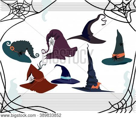 Halloween Card With Witch Pointed Hats Of Different Styles.decor In The Form Of A Spiders,cobwebs,ba