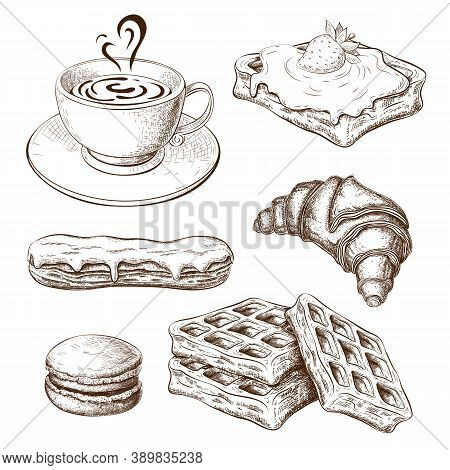 Coffee With Croissant, Pastries, Sweet Desserts. Breakfast Icon Set. Drawn Sweet Pastries With Cup O