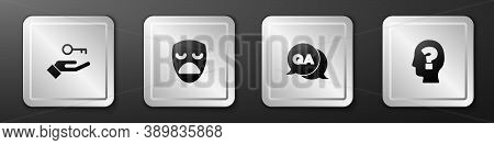 Set Solution To The Problem, Drama Theatrical Mask, Question And Answer And Head With Question Mark