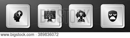 Set Man Graves Funeral Sorrow, Psychologist Online, And Drama Theatrical Mask Icon. Silver Square Bu