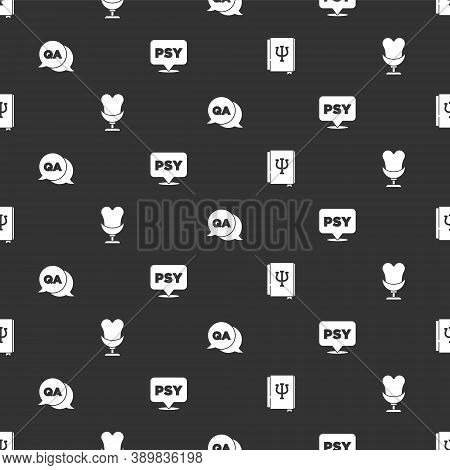 Set Psychology Book, Psi, Armchair, Question And Answer And Psychology, On Seamless Pattern. Vector