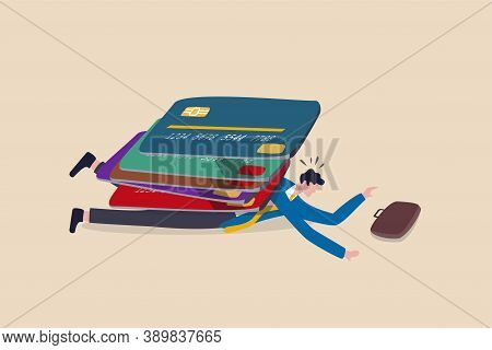 Credit Card Debt, Overspending, Financial Problem Credit Loan Trouble Or Default Concept, Pile Of Cr