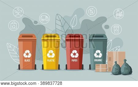 Waste Sorting. Trash Containers. Organic, E-waste, Plastic, Paper, Glass And Metal Trash Containers.
