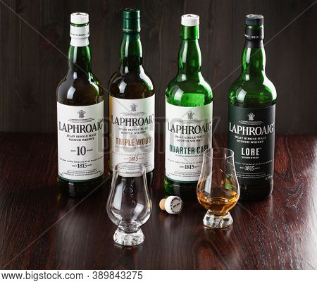 Trondheim, Norway - Mai 18 2020: Laphroaig single malt scotch whisky 10 years, quarter cask, lore, triple wood bottle