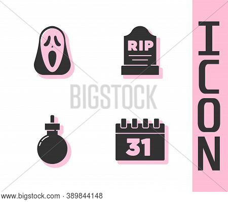 Set Calendar With Halloween, Funny And Scary Ghost Mask, Bomb Ready To Explode And Tombstone Rip Wri