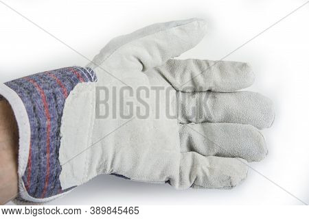 New Leather Working Gloves On A White