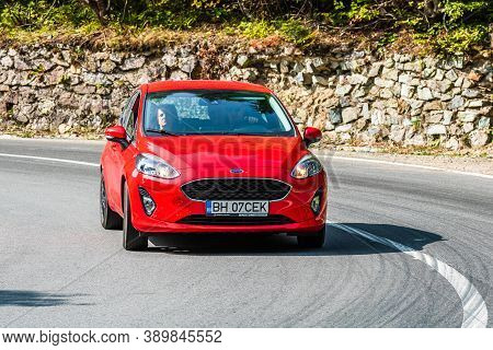 Red Ford Fiesta On Road In Bihor, Romania, 2020