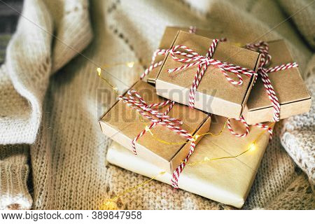 Gift Boxes On Background. Christmas Holiday Cozy, Mood Concept