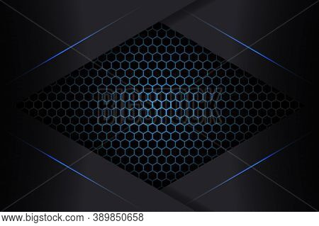 Abstract Blue Light Shapes On A Black Carbon Grid. Technology Background. Carbon Fiber Background Wi