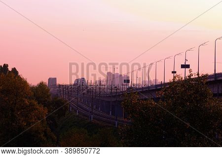 The New Darnytskyi Bridge Is A Combined Road And Railroad Bridge In Kyiv Over Dnipro River. Majestic