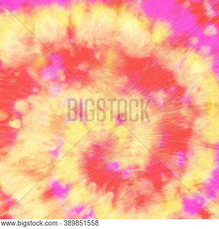 Abstract Dye. Hippie Swirl Design. Orange Artistic Shirt. Circular Cool Dress. Batik Background. Col