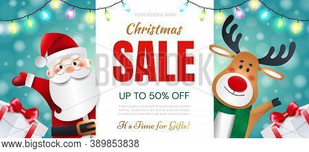Christmas Sale. Santa Claus And Deer With Gifts Announces Holiday Discounts.