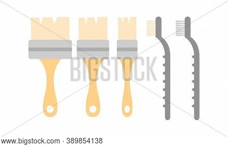 Brush As Archeologic Tools For Cleaning Fossils Vector Set