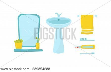 Mirror And Shelf With Toothbrush And Basin Or Sink As Bathroom Sanitary Ware Vector Set