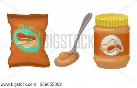 Raw Salted Peanut In Package And Sweet Peanut Butter Vector Set