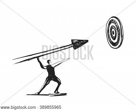 Businessman Pointing At Arrow In A Target Board. Businessman Hitting At The Center Of Target Board.
