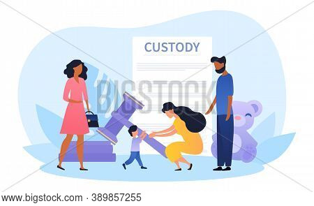 Child Custody Or Adoption Abstract Concept With Social Worker And Young Multiracial Couple Adopting