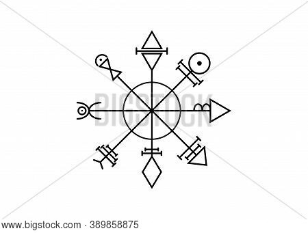 First Pentacle Of Venus, Seals Magical Talisman. Sacred Geometry. Vegvisir Compass Mystical Characte