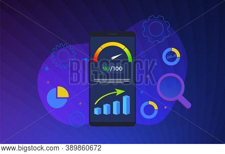 Mobile Page Speed Optimization Flat Vector Illustration Concept. Smartphone On Whose Screen Accelero