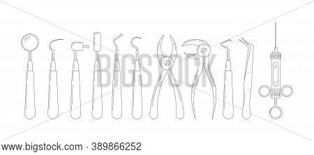 Dental Tools Line Art Icon Set Isolated On White Background. Stomatology Instruments Collection Scra