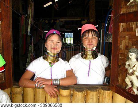 Inle Lake, Myanmar - 10 Jan 2010: Kayan People, Padaung Women, Inle Lake, Myanmar