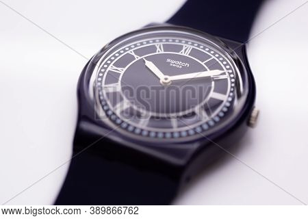 London, Gb 07.10.2020 - Swatch Swiss Made Quartz Watch Isolated On White Background. Young Businessw