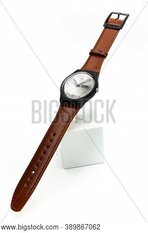 London, Gb 07.10.2020 - Swatch Swiss Made Quartz Watch On Stand Close Up. Swatch Group Watch Product