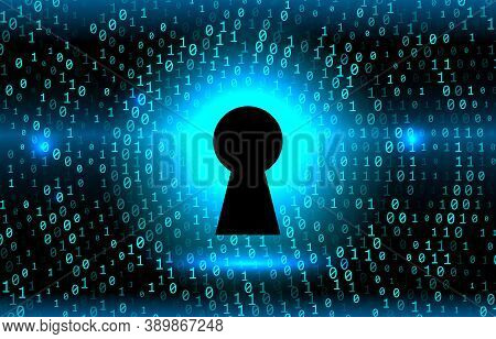 Keyhole On The Background Stream Of Binary Matrix Code On The Screen. Numbers Of The Computer Matrix