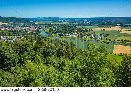 Weser Uplands / Weser Hills. View Of Weser River And Surroundings Near The City Of Höxter In North R