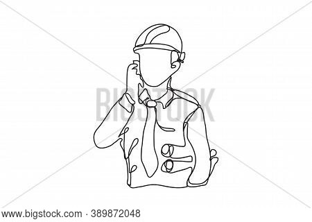 Line Construction, Civil Engineer, Architects And Worker, Vector Design.