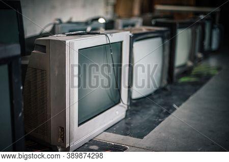 Stack Of Retro Vintage Televisions. Lifestyle Details, Old Tv Set