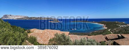 Aereal Ultra Wide Panorama Of Capo Coda Cavallo In Sardinia With Tavolara Island In Background