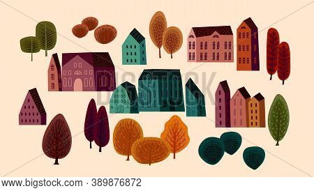 Set Of Cute Houses And Autumn Trees. Vector Illustrations.
