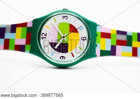 London, Gb 07.10.2020 - Swatch Cheapest Trendy Fashion Swiss Made Quartz Watch Isolated On White Bac