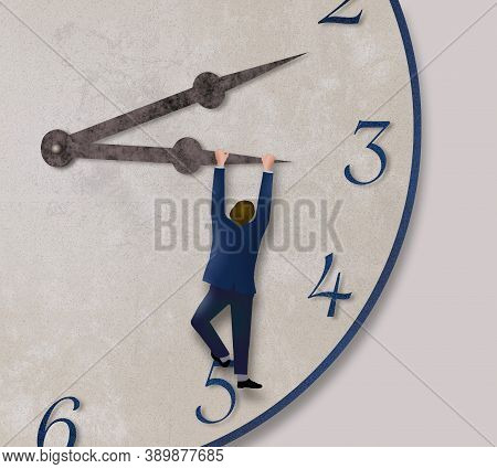 A Man In A Business Suit Hangs From The Hour Hand Of A Clock Pulling It Toward Five O'clock In This