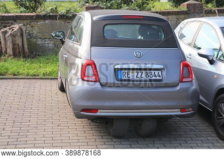 Dortmund, Germany - September 16, 2020: Fiat 500 Ellenator Bizarre Modified Car Parked In Germany. T