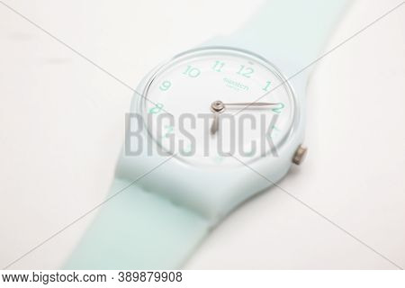 London, Gb 07.10.2020 - Swatch Cheapest Swiss Made Quartz Watch Isolated On White Background. White