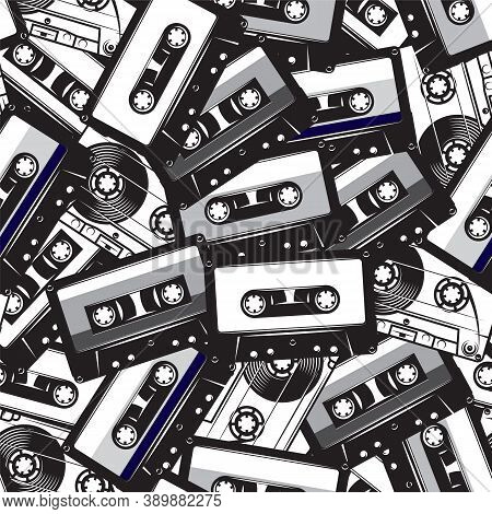 A Set Of Different Audio Cassettes. Seamless Background In Retro Style. Vector Illustration.