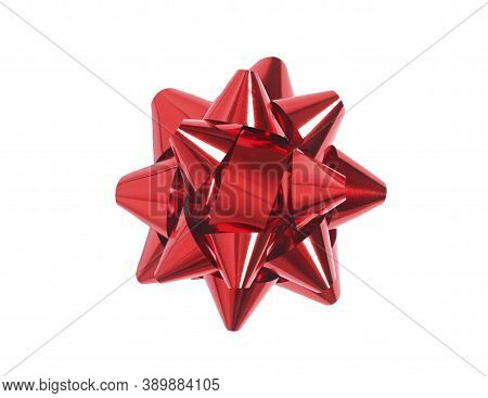 Red Bow Top View Isolated On White.gift Box Decoration.christmas Decor Element.holiday Item.