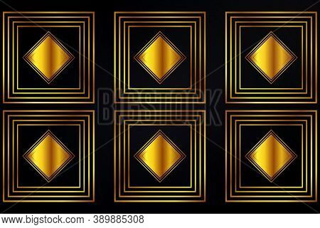 Luxury Golden Background Design. Modern Abstract Background With Golden Luminous Shapes, Stripes And