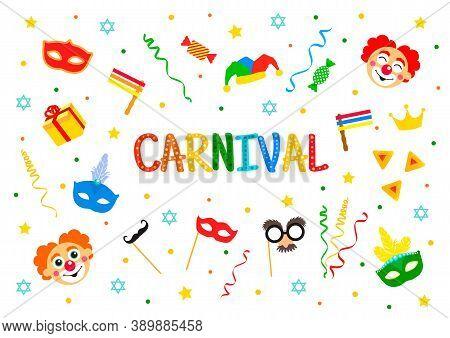 Happy Purim Jewish Holiday Greeting Card. Traditional Purim Carnival Symbols Design Elements, Icons