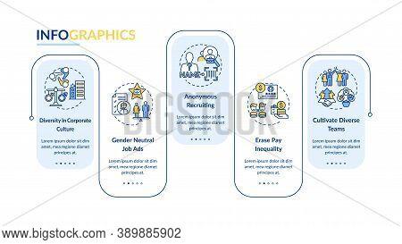 Gender Diversity Implementation Tips Vector Infographic Template. Job Presentation Design Elements.