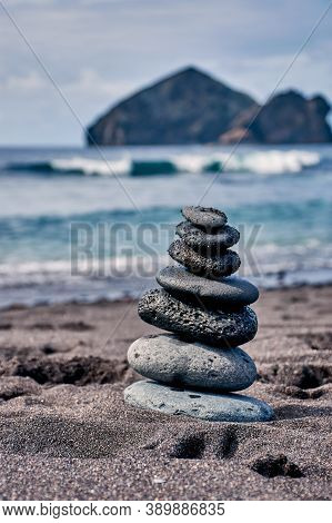 Zen Stone Tower At The Atlantic In Mosteiros Sao Miguel Azores, Vertical Color Photo