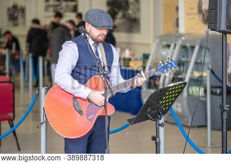 Old Warden, Bedfordshire, Uk, October 6, 2019. A Guitarist Or A Guitar Player Is A Person Who Plays