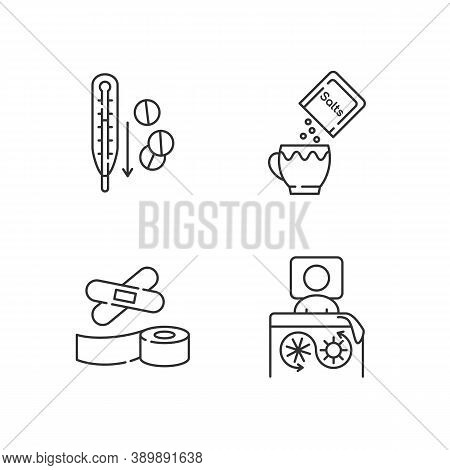 First Aid Medication Linear Icons Set. Fever Reducer Pills. Oral Rehydration. Thermal Blanket. Custo